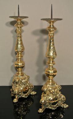 Antique Large Pair of Victorian Brass Cherub Candlesticks