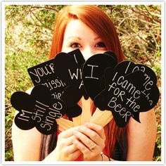 More photo booth prop ideas. Mini chalk boards guests can write funny saying on or advice for the bride and groom before they take their picture.
