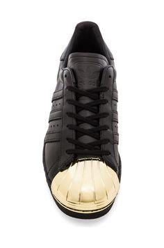 adidas Originals BLUE Superstar 80's Metal Toe Sneaker in Black & Gold