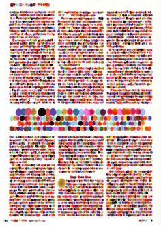 Color codification dot drawings by artist Lauren DiCioccio. To make each painting, she lays a sheet of frosted mylar over a magazine page and assigns a color to every letter, with numbers as shades of grayscale, then applies tiny dots o E Design, Graphic Design, Design Trends, Dotted Drawings, Data Visualization, Art Plastique, Color Theory, Textures Patterns, Surface Pattern
