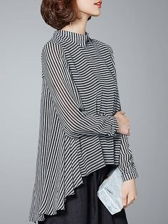 Long Sleeve Casual Asymmetric High Low Blouse, This shirt is suitable for pretty women to wear in daily life to show womanly charm and beauty, featuring asymmetrical style with long sleeve and shir. Look Fashion, Fashion Outfits, Fashion Design, Fashion Hacks, Fashion Tips, Chinese Collar Shirt, Zumba Outfit, Mode Top, Stripes Fashion