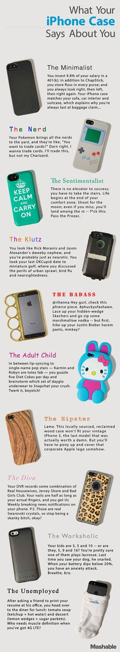 What your phone case says about you...  LOL it's on point.