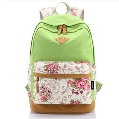 Brand High Quality Floral Leather Canvas Bag Backpack School for Teenager Girl Laptop Bag Printing Backpack For Women APB03