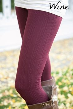 White Plum's Cable Knit Fleece Lined Leggings! 10 Colors Available! | Jane