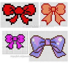 Birthday bows cross stitch. Cross Stitch Letters, Cute Cross Stitch, Cross Stitch Designs, Stitch Patterns, Pearl Crafts, Pixel Art Grid, Pixel Drawing, Pixel Pattern, Little Stitch