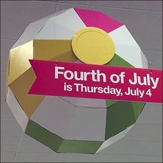 Though the Holiday is upon us, this Don't Forget Fourth Of July Thursday Reminder store entry greeting has been communicating with shoppers for weeks. Retail Fixtures, Merchandising Displays, Fourth Of July, Don't Forget, Thursday, Promotion, Target, Ceiling, Holiday