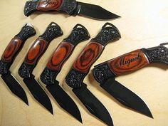 6 Engraved Black Decor Folding Pocket Knives Personalized Groomsman Best Man Ring Bearer Father of the Bride Gift Wedding Gift Keepsake. $90.00, via Etsy.   For the groomsmen