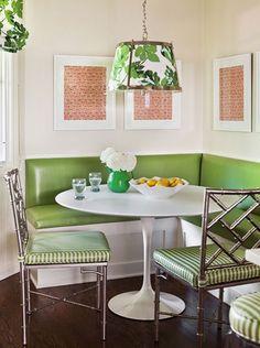 kitchen layout with breakfast area | Breakfast Nooks: Contemporary meets retro, green upholstery, metallic ...