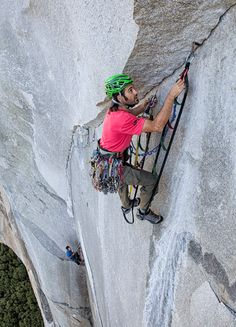 Dave setting a cam hook on day six. Fast and efficient aid climbing was crucial for success. Photo: Gabriel Mange