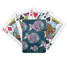 Group of fishes Illustration Bicycle Playing Cards  #illustration #fishes #home #decoration #art #zazzle #playingcards