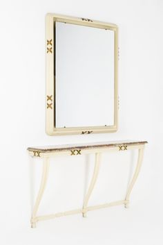 Osvaldo Borsani 1950 Manufacturer: Arredamenti Borsani Varedo Extraordinary console with mirror designed by Osvaldo Borsani for Arredamenti Borsani Varedo in 1950. Exquisitely decorated white lacquered and gilt wooden structures, marble top. The mirror is back lit. Unique pieces designed for a private commission. Original vintage conditions.