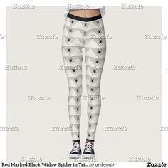 Red Marked Black Widow Spider in Triangle Web Leggings
