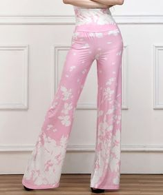 Another great find on #zulily! Pink & White Floral High-Waist Palazzo Pants #zulilyfinds