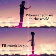Anime Kimi no na wa Otaku Anime, Manga Anime, Sad Anime Quotes, Manga Quotes, Kimi No Na Wa Wallpaper, Your Name Anime, Les Sentiments, Anime People, Cute Anime Couples