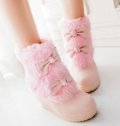 Lolita Bowknot Girls Wedge Shoes Sweet Faux Fur Furry High Heels Ankle Boots