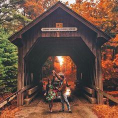 "kieljamespatrick: "" Fall in Love, Loving Fall.  (at Swamp Meadow Covered Bridge)  Engagement photos ~ ~ """