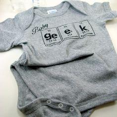 Baby Geek Onesie  Gray with Black 12 months by ShopGibberish, $13.00