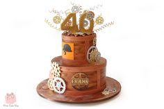 Steampunk inspired 40th Birthday Cake #gears #birthday #springs