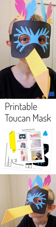 Printable toucan mask - makes a quick last minute costume or fun imaginative play for kids! This plus more papercrafts for kids Book Day Costumes, Last Minute Costumes, Easy Crafts For Kids, Projects For Kids, Art Projects, Printable Crafts, Printables, Vbs Crafts, Halloween Crafts