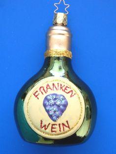 WINE BOTTLE GERMAN GLASS CHRISTMAS ORNAMENT W/ GRAPES