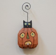 Jack-O-Kitty Primitive Folk Art Halloween Ornament