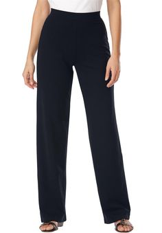 "Women's Plus Size Petite Pants In Stretchy Ponte Knit Black,22 Wp. wide leg silhouette has extra room for your legs, total freedom of movement. 29"" inseam fits women 4'11""-5'3.5"". classic waist placement sit slighty above waist, provides best coverage. full set on waist, effortlessly stays in place. wrinkle resistant and they hold their shape."