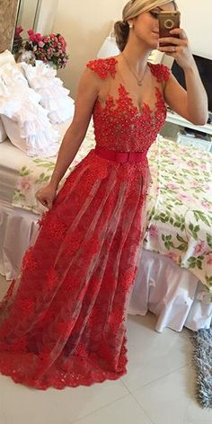 Do you like this sexy red lace long prom dress? www.27dress.com