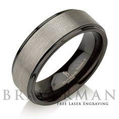 Black Tungsten Ring Gun Metal Tungsten Carbide by BravermanOren