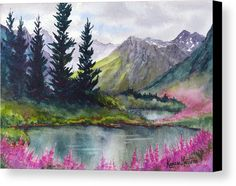 Turnagain Pass Fireweed Canvas Print / Canvas Art by Karen Mattson Landscape Pencil Drawings, Watercolor Landscape Paintings, Watercolor Paintings, Oil Painting On Canvas, Canvas Art, Mountain Paintings, Beautiful Landscapes, Alaska, Fine Art America