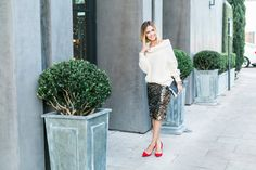 New Year's Eve Look • | Red Heels | Sparkly skirt outfit | Chunky sweater look | Uptown With Elly Brown