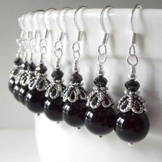 Bridesmaid Jewelry Black Pearl Beaded Dangle by FiveLittleGems