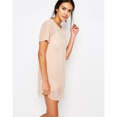 Missguided Short Sleeve Mesh T-Shirt Dress (2.215 RUB) ❤ liked on Polyvore featuring dresses, beige, short-sleeve dresses, white day dress, t shirt dress, white dress and beige dress