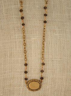 Vintage pendant with rough-cut smoky quartz stones by ExVoto Vintage Jewelry.  #handmade #madeinusa #vintage #semiprecious