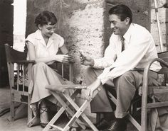 Audrey and Gregory Peck on a break between takes, Roman Holiday