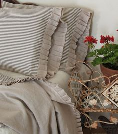 country French linen and ticking  blanket by MyThymeCreations, $225.00