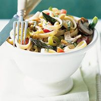 Mushroom and Asparagus Fettuccine: Chock-full of fresh herbs and veggies, this pasta dish was made for summer. Toasted pine nuts add an unexpected, yet welcome, crunch.