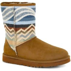 Ugg Australia Classic Short Pendleton Shearling-Lined Boots ($190) ❤ liked on Polyvore featuring shoes, boots, ankle booties, brown, short booties, short ankle booties, short boots, shearling lined booties and brown booties