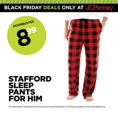 JCPenney Black Friday Deal. $8.99 Stafford sleep pants—so comfortable!