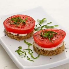 Tomato & Basil Finger Sandwiches Recipe | A smear of reduced-fat mayonnaise and a little fresh basil allow perfectly ripe tomatoes to shine.
