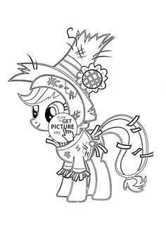 My little pony Funny Applejack Pony Halloween coloring page for kids, for girls coloring pages printables free - Wuppsy.com