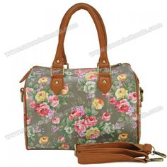 Wholesale Sweet Women's Tote Bag With Floral Print and Zipper Design (GRAY), Tote Bags - Rosewholesale.com