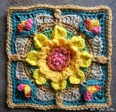 "A simple rustic floral motif square celebrating the colours of our Winter and Summer Solstices. Each part of the square is a design that can stand alone, or be incorporated into another design. The borders can be increased to make a larger motif as a central design in an afghan, or used in a smaller project like a country -style cushion cover, repeat the squares 25 x and you'll have a lovely 35"" square baby blanket!"