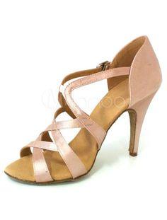 Sexy Shiny Peep Toe Satin Quality Latin Shoes - Milanoo.com
