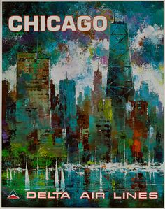 Delta Airlines - Vintage Travel Poster: Chicago