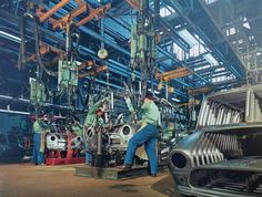 """majorupsett: """"Workers on the assembly line at the Innocenti factory in """" Old Classic Cars, Classic Mini, 1960s Cars, Assembly Line, Fancy Cars, Mini Things, Car In The World, Old Cars, Car Pictures"""