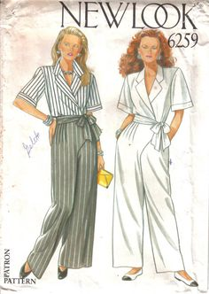 Vintage New Look Factory Folded Misses' Dress & Pants Pattern 6002 Multi-Size circa 1993 Dress Pants, Shirt Dress, New Look Patterns, Wrap Pants, Wrap Blouse, Pants Pattern, Fashion History, Dress Making, That Look