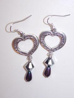 Silver Heart Dangle Earrings by EriniJewel on Etsy, $9.00