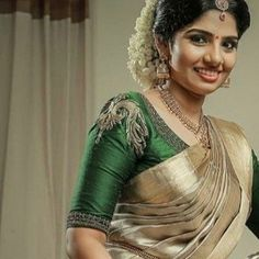 Online shopping from a great selection at Clothing & Accessories Store. South Indian Blouse Designs, Kerala Saree Blouse Designs, Traditional Blouse Designs, Saree Blouse Neck Designs, Bridal Blouse Designs, Bridal Sarees South Indian, Bridal Silk Saree, South Indian Weddings, South Indian Bride
