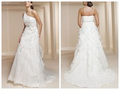 SINGLE STRAP ORGANZA AND SATIN EMPIRE WAIST WEDDING DRESS