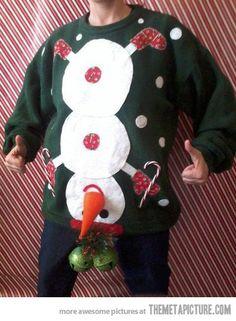 tacky Christmas party next year! Naughty Ugly Christmas Party Holiday Sweater Mens Tacky L XL Snowman Winner Tacky Christmas Sweater, Ugly Xmas Sweater, Xmas Sweaters, Xmas Jumpers, Funny Christmas Sweaters, Christmas Clothes, Funny Xmas, Ugly Sweaters Diy, Homemade Ugly Christmas Sweater